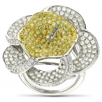 Gold Natural Yellow Diamond Flower Ring 14K Gold 3.58ct