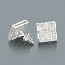 Gold Pave Diamond Stud Earrings 0.41ct 10K