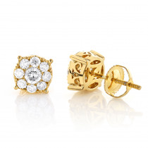 Gold Round Diamond Cluster Earrings 1.3ct 14K Gold