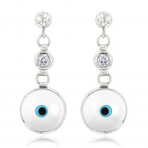Good Luck Charms 14K Diamond Evil Eye Earrings 0.20ct