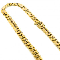 Half Kilo Yellow Gold Miami Cuban Link Colossal Chain for Men 14mm 22-40in