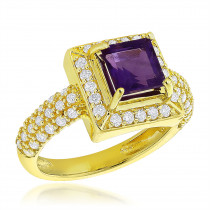 Halo Amethyst Diamond Engagement Ring 0.68ct 14K Gold Gemstone Ring