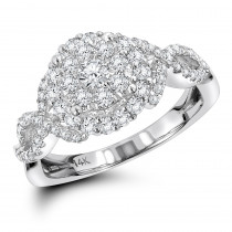 Halo Cluster Diamond Engagement Ring 1.1ct 14K Gold