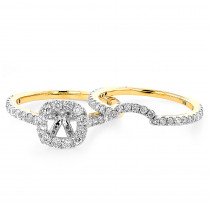 Halo Cushion Diamond Engagement Ring Mounting and Band Set 18K Gold 1.59ct