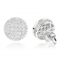 Halo Diamond Cluster Earrings Studs 1.61ct 14K Gold
