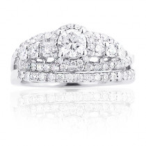 Halo Round Diamond Engagement Ring Set 14K Gold 1.88ct