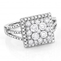 Halo Square Diamond Engagement Ring 14K Gold Ladies Cluster Ring 1.7ct