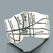 Handcrafted Silver Jewelry: Manhattan Subway Map Cuff Bracelet