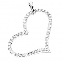 Heart Jewelry 14K Gold Round Diamond Heart Pendant 1.39