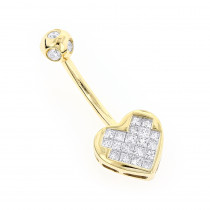 Heart Shaped 14K Gold Diamond Belly Button Ring 0.66ct
