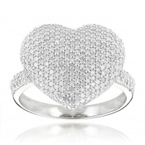Heart Shaped Jewelry: 14K Gold Diamond Heart Ring 1.15ct