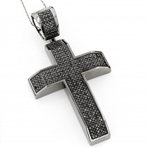 Heavy 14K Black on Black Diamond Cross Pendant 6.50ct