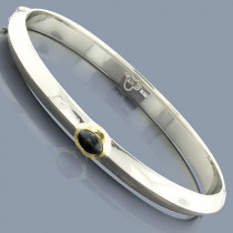 Hematite Bangle Bracelet in Sterling Silver 18K Gold
