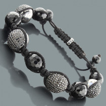 Hip Hop Bracelets: Disco Ball Bracelet with Black Crystals