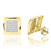 Hip Hop Jewelry: 10K Gold Pave Diamond Square Stud Earrings 0.39ct