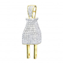Hip Hop Jewelry 3D Real Gold and Diamond Power Plug Pendant for Men 10K