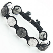Hip Hop Jewelry: Beaded Disco Ball Bracelet w White Black Diamonds 5ct