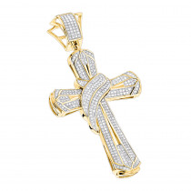 Hip Hop Jewelry: Large 10K Gold Mens Diamond Cross Necklace Pendant 1.0ct