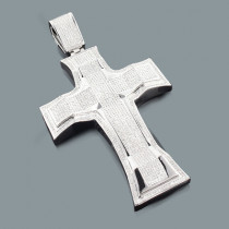 Hip Hop Jewelry: Oversized Mens Diamond Cross Pendant 3.26ct Silver