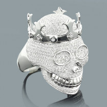 Hip Hop Jewelry: Mens Diamond Skull Ring 2.75ct Silver