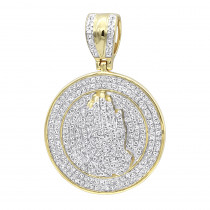 Hip Hop Jewelry: Praying Hands Diamond Pendant for Men 14k Gold Medallion