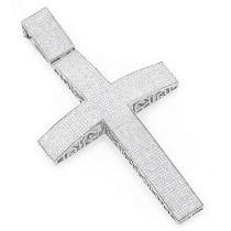 Hip Hop Jewelry: Silver Diamond Cross Pendant 6.94ct Large