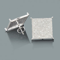 Hip Hop Jewelry: Silver Diamond Earrings 1.76ct