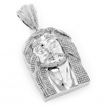 Hip Hop Jewelry Silver Diamond Jesus Face Pendant 1.75
