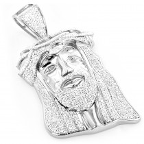 Hip Hop Jewelry:10K Gold Diamond Jesus Face Pendant 1.25ct