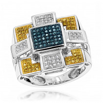 Hip Hop Rings: Blue Yellow Diamond Ring 10K Gold 0.55ct