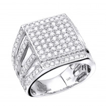 Hip Hop Square Diamond Mens Ring 2.3ct 14K Gold
