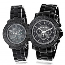 His and Hers Watches: Black Diamond Luxurman Watch Set 0.55ct
