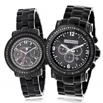 His and Hers Watches: Oversized Black Diamond Watch Set by Luxurman 5.15ct