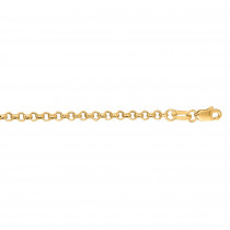 Hollow 14k Gold Rolo Chain For Men & Women 2.3mm Wide