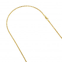 Hollow 14k Gold Rope Chain For Men & Women 2mm Wide