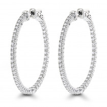 1.5in 14K Gold Diamond Hoop Earrings Inside Out 1ct by Luxurman