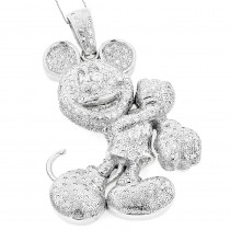 Huge 10K Diamond Mickey Mouse Pendant 4ct