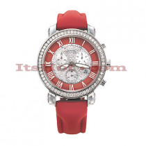 Ice Dial Diamond Benny Co Watch 2.6ct Mens Red