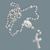 Iced Out Diamond Rosary Necklace in Sterling Silver 7.89ct
