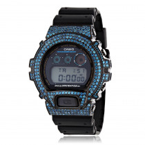 Iced Out G-Shock Watches: Casio Blue CZ Crystal Watch DW6900