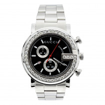 Iced Out Gucci Chrono Diamond Watch for Men 2ct 101M G
