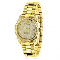 Iced Out Luxurman Ladies Diamond Yellow Gold Plated Watch 1.5ct Tribeca