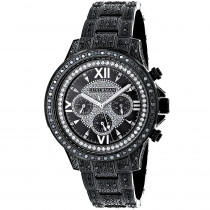 Iced Out Mens Black Diamond Luxurman Watch 3ct
