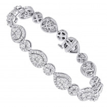 In Line 14k Gold Unique Round Diamond Drop Bracelet For Women 7 Carat
