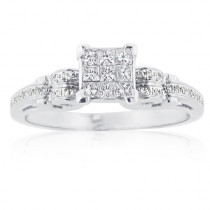Inexpensive 14K Gold Princess Cut Diamond Engagement Ring 1ct