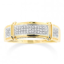 Inexpensive Mens Diamond Wedding Band 0.18ct 10K Gold