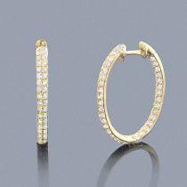 Inside Out Diamond Hoop Earrings 1.42ct 14K Gold