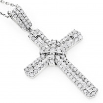 Intricate 14K Gold Designer Diamond Cross Pendant 1.48