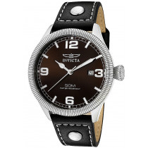 Invicta Watches: Men's Vintage Brown Dial Black Leather 1461