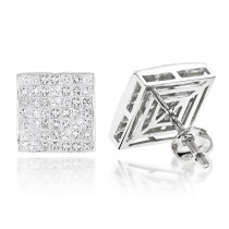 Invisible Set Princess Cut Diamond Stud Earrings 3.05ct 14K Gold